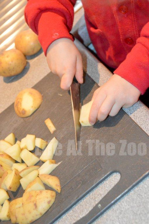 Cooking with kids chopping