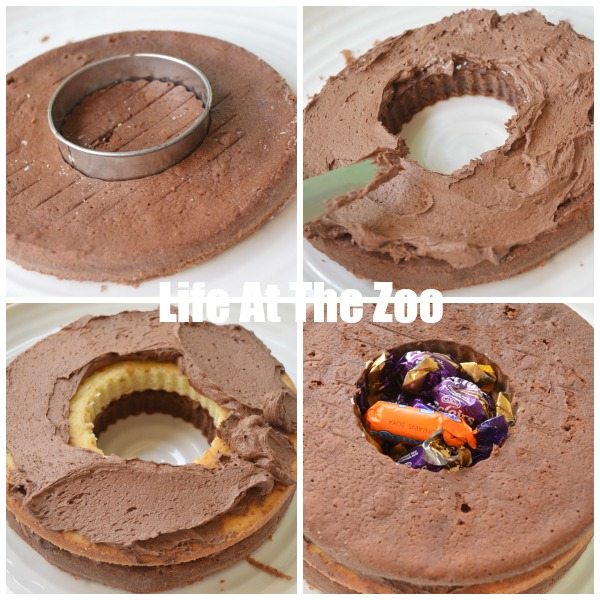 Chocolate Surprise Cake filled with sweets