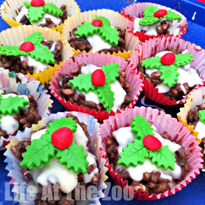Christmas Puddings Rice Crispy Cakes