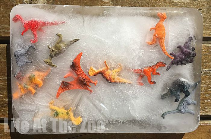 Cool down with some fun Dino Ice Excavation. Dinosaur Ice Excavation - a super fun activity for hot summer days! Great for toddlers and preschoolers