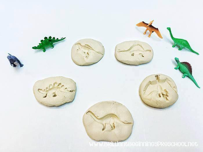 Dinosaur Activities for Preschoolers - salt dough fossils DIY