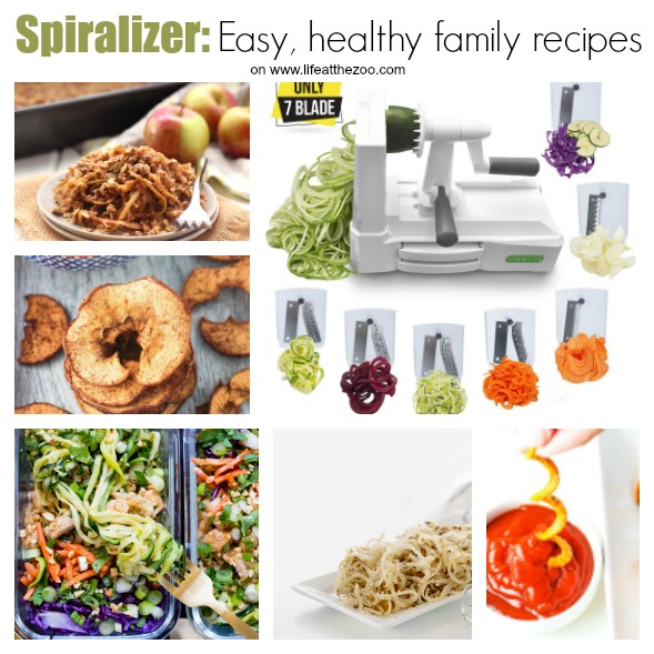 "Easy Spiralizer Recipes - looking for a healthy start to the New Year? Have a go at these wonderful Spiralizer recipes.. you don't ""just"" have to make Spiralizer Salads, but use them for apple crumble and homemade apple slices too. So many delicious Spiralizer Recipes to try #spiralizer #easyrecipes #recipes #familymeals #healthyrecipes"