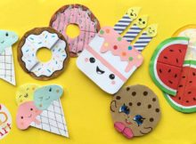 Picture showing 5 really cute food bookmark corner designs by youtuber Red Ted Art